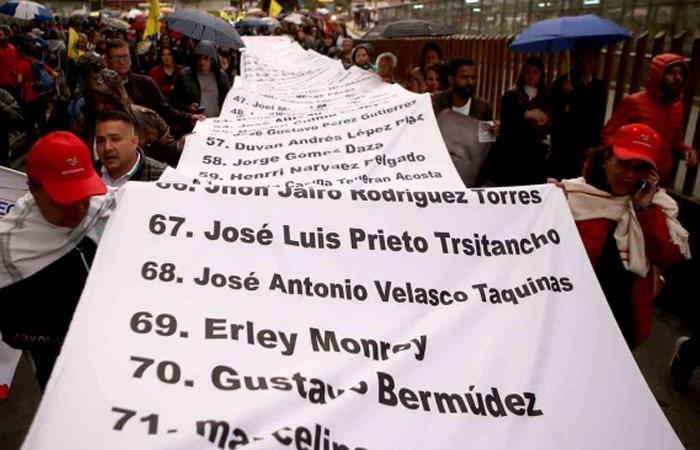 Lista con algunos de los defensores asesinados en Colombia. Foto: Twitter