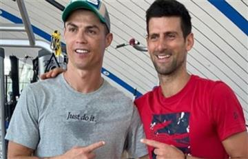 [VIDEO] Cristiano Ronaldo le enseñó a saltar a Novak Djokovic