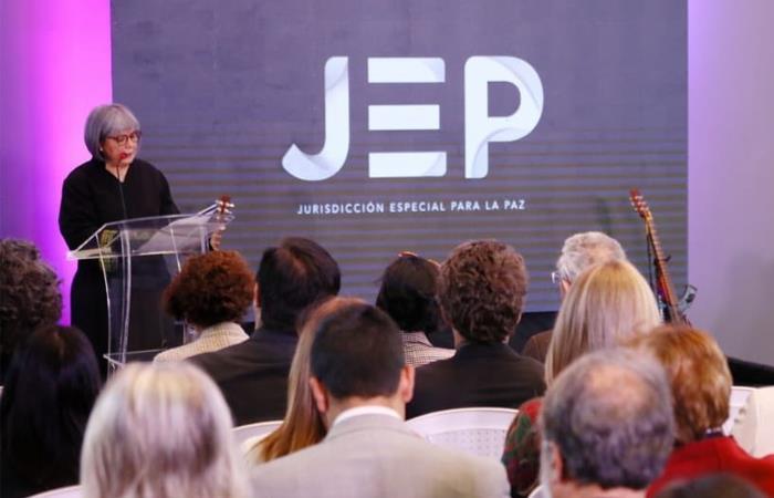 Patricia Linares, presidente de la JEP, durante su intervención en esta celebración. Foto: Twitter