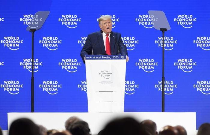 Donald Trump, durante su intervención en el Foro Económico Mundial. Foto: EFE