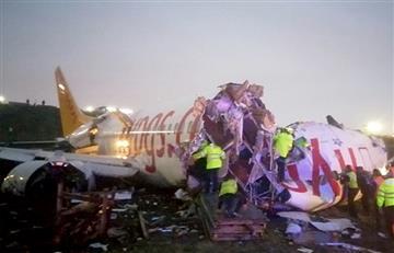 [VIDEO] Avión se dividió en tres partes tras falla en el aterrizaje, en Turquía