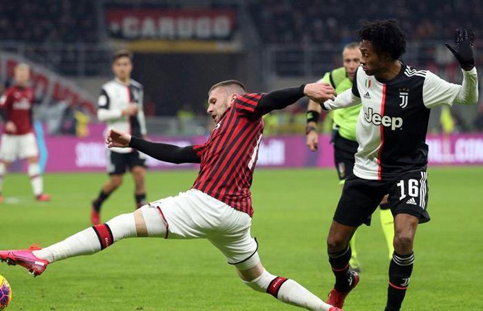 Resultado Partido Milán Juventus Coppa Italia codazos Juan Guillermo Cuadrado
