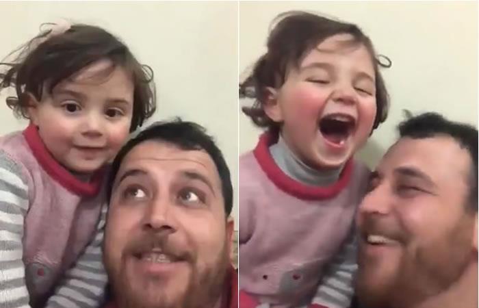 Padre sirio finge juego guerra para que su hija sonría