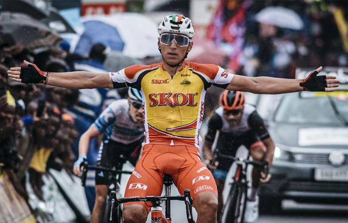Jhonatan REstrepo ganó la séptima etapa del Tour de Ruanda. Foto: Twitter