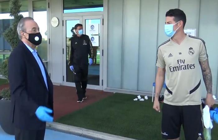 Visita Florentino Pérez James Rodríguez plantilla Real Madrid
