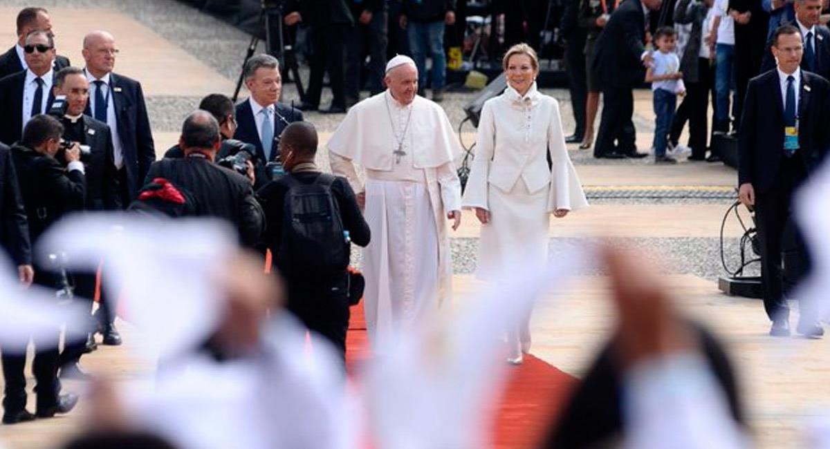 El papa Francisco en su visita a Colombia. Foto: Twitter oficial @elpapacol