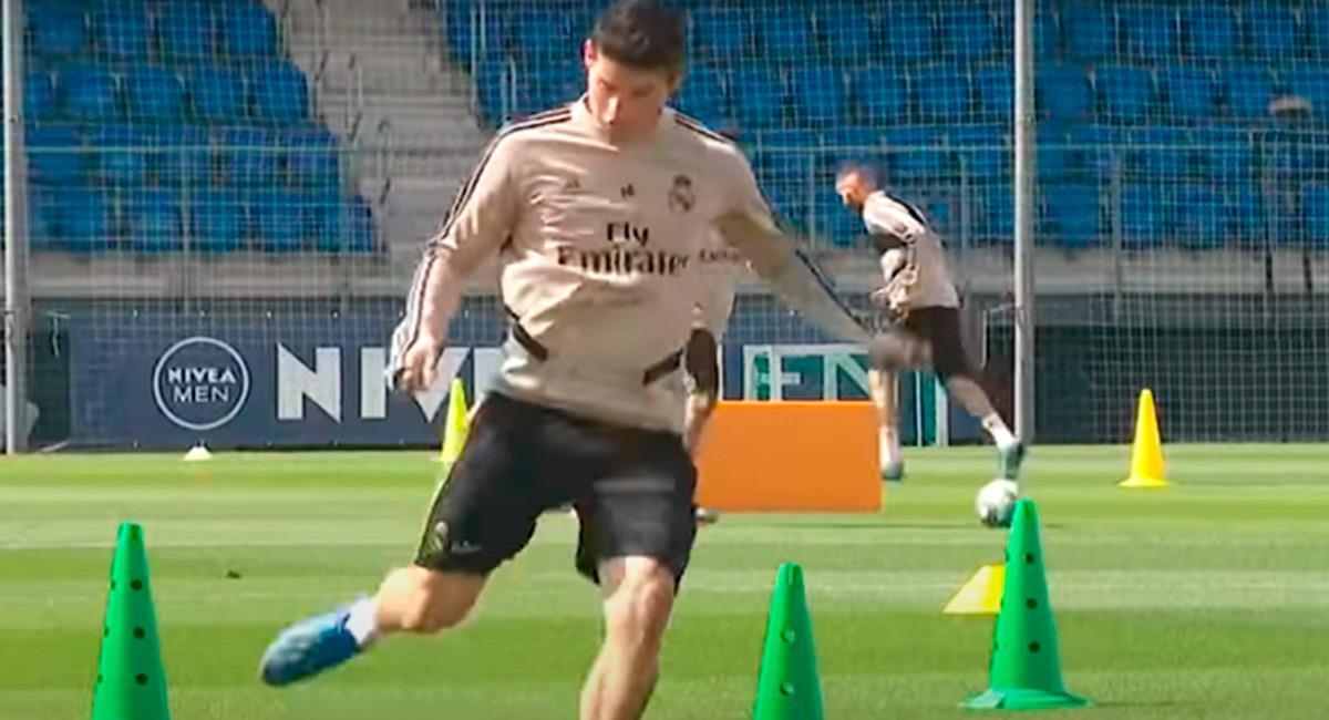 James Rodríguez en entrenamientos con el club 'merengue'. Foto: Prensa Real Madrid