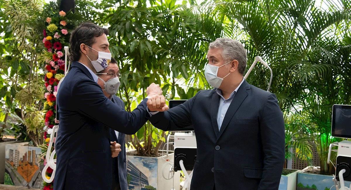 Alcalde de Medellín, Daniel Quintero Calle (i), y el presidente Iván Duque (d). Foto: EFE  / Presidencia Colombia