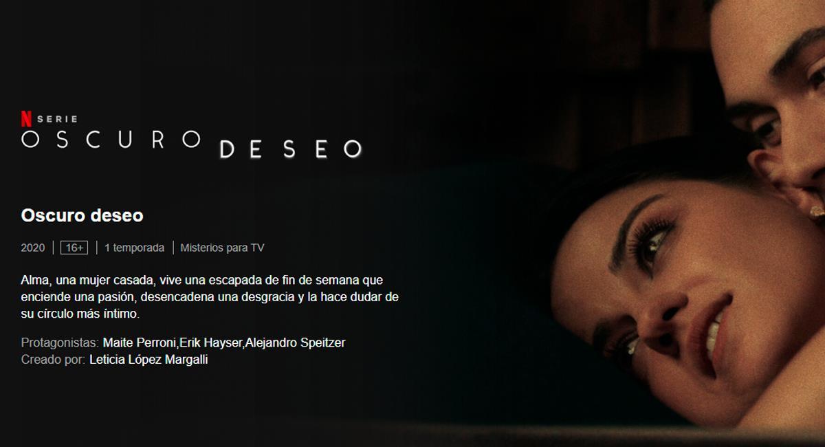 La producción tiene una gran carga de suspenso y sensualidad. Foto: Difusión Netflix.com