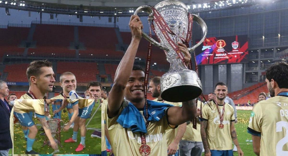 Jugadores de Zenit rompen el trofeo. Foto: Instagram Prensa redes Wilmar Barrios.