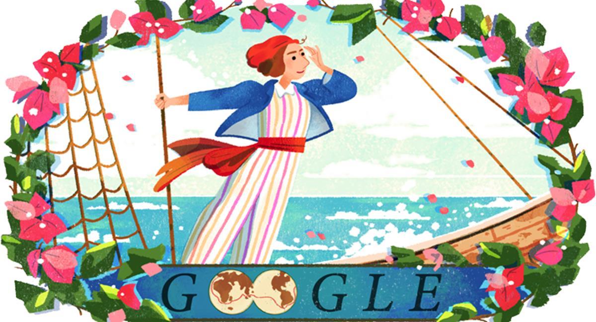 Google conmemora el nacimiento de Jeanne Baret con un Doodle. Foto: Twitter @googleespanol