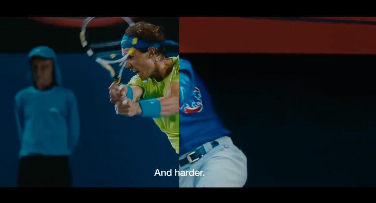 Nadal está presente en las imágenes del comercial. Foto: Twitter Reproducción video @Nike