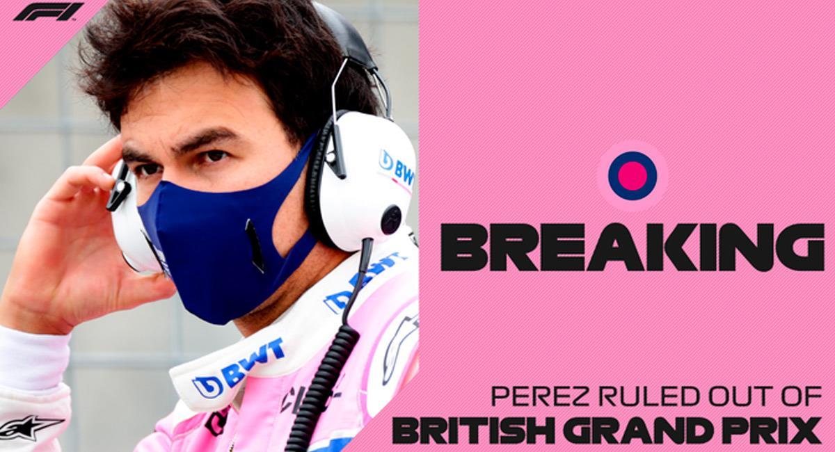 Checo Pérez, primer piloto de la F1 con COVID-19. Foto: Twitter @F1