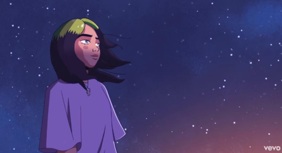 Billie Eilish en dibujos animados. Foto: Youtube