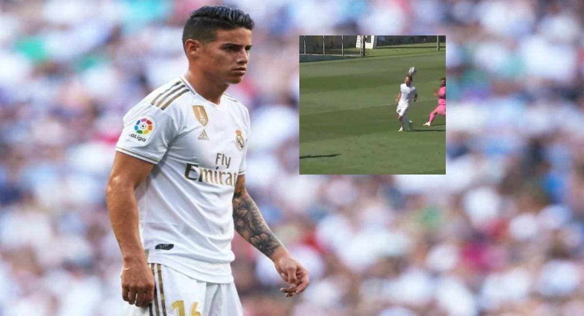 Pase gol de James en entrenamiento. Foto: Twitter Prensa redes James Rodríguez y Real Madrid.