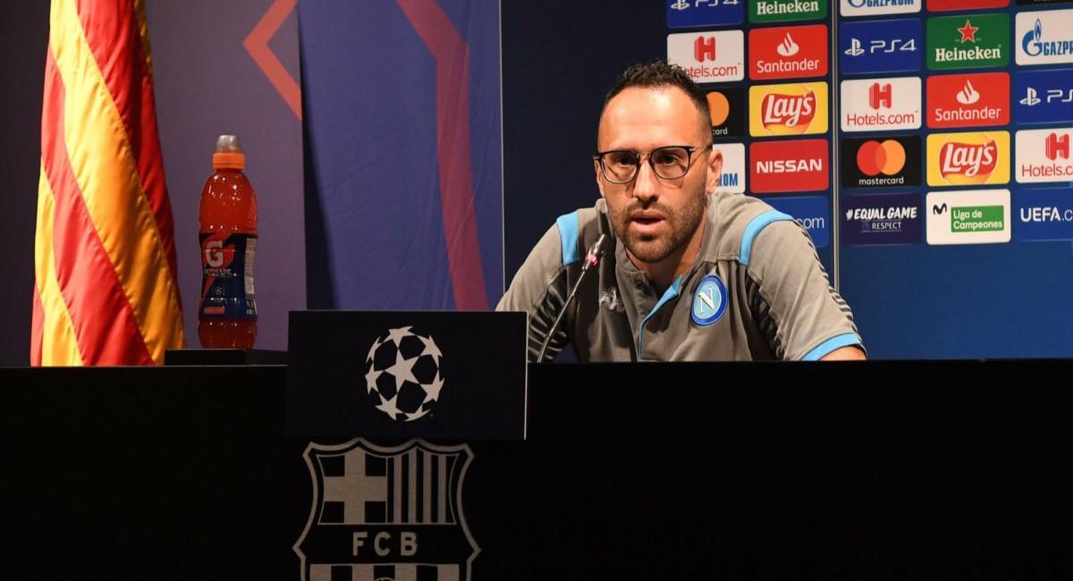 David Ospina habló previo al juego de Champions ante Barcelona. Foto: Twitter Prensa redes Napoli.