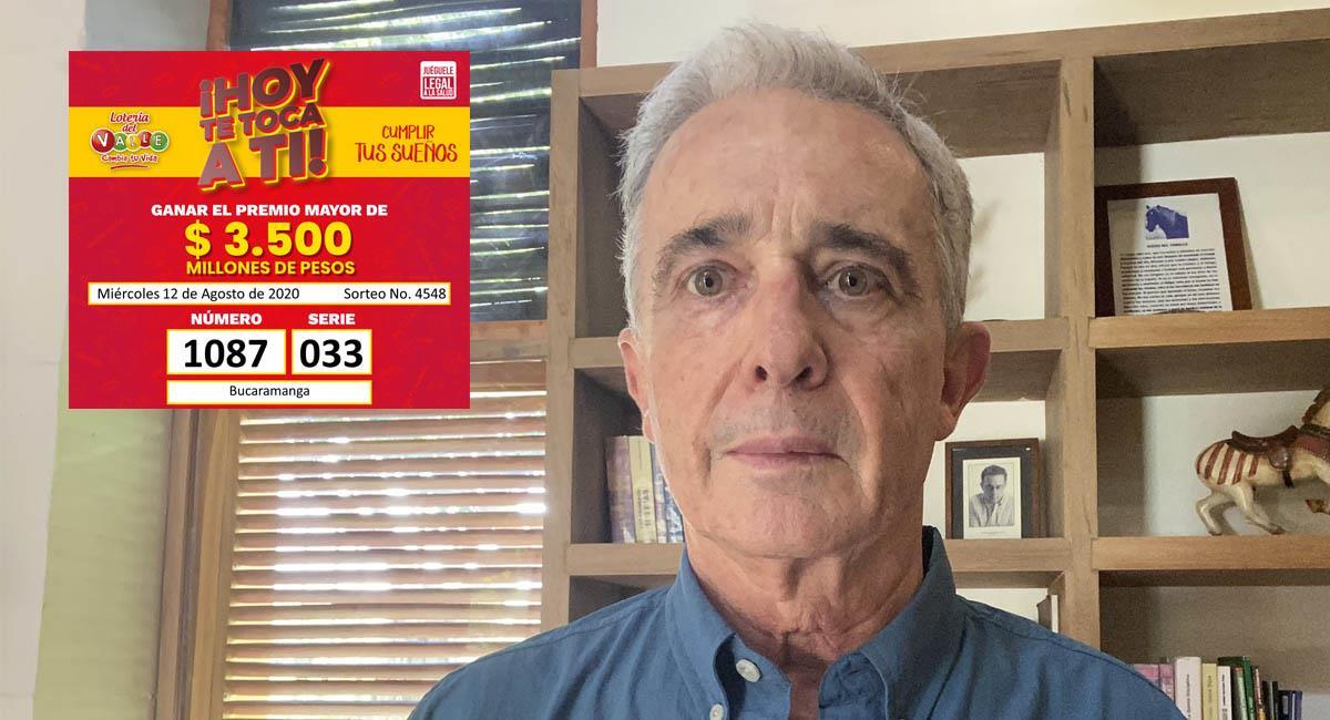 El premio mayor fue de 3.500 millones de pesos, en 'honor' al número del expresidente Uribe. Foto: Twitter / @AlvaroUribeVel - @LoteriadelValle