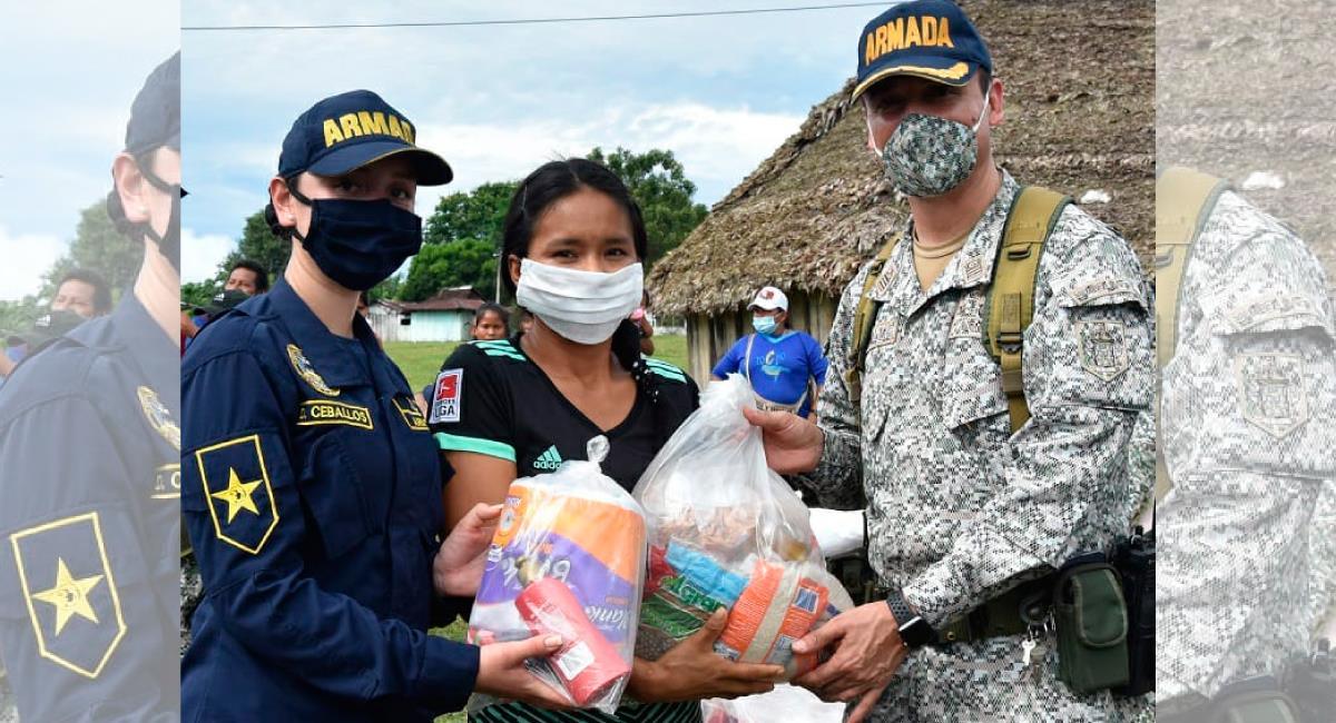 Una ayuda para las poblaciones vulnerables del país. Foto: Twitter @ArmadaColombia