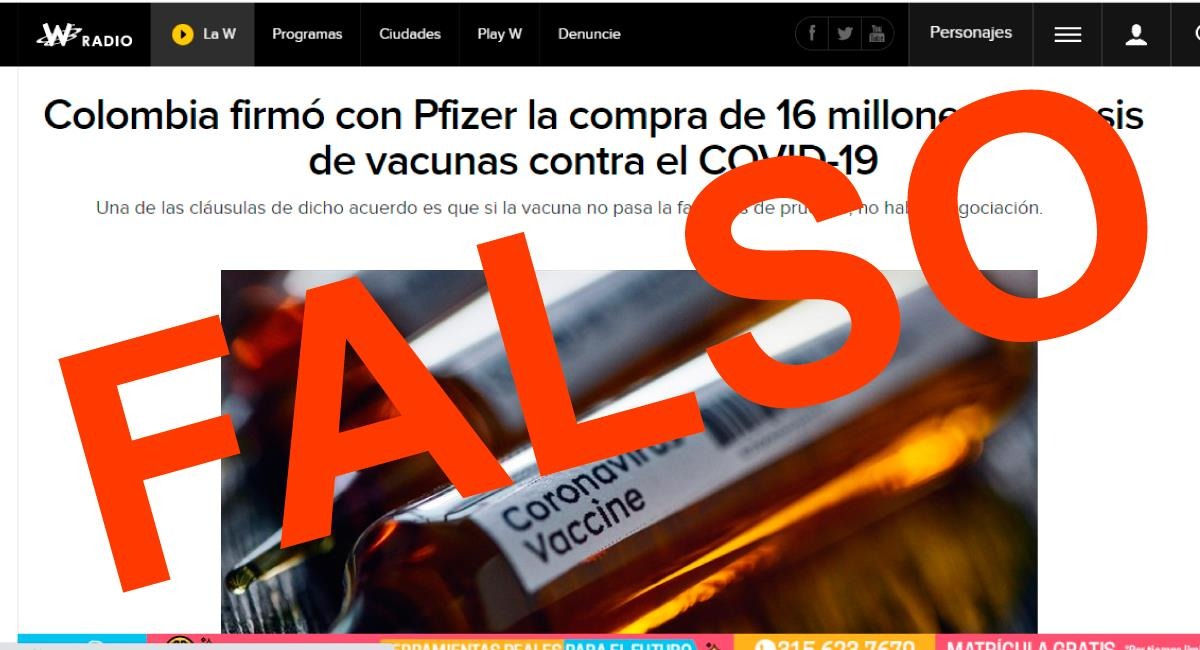 Gobierno desmiente una nueva noticia falsa. Foto: Captura de pantalla W Radio