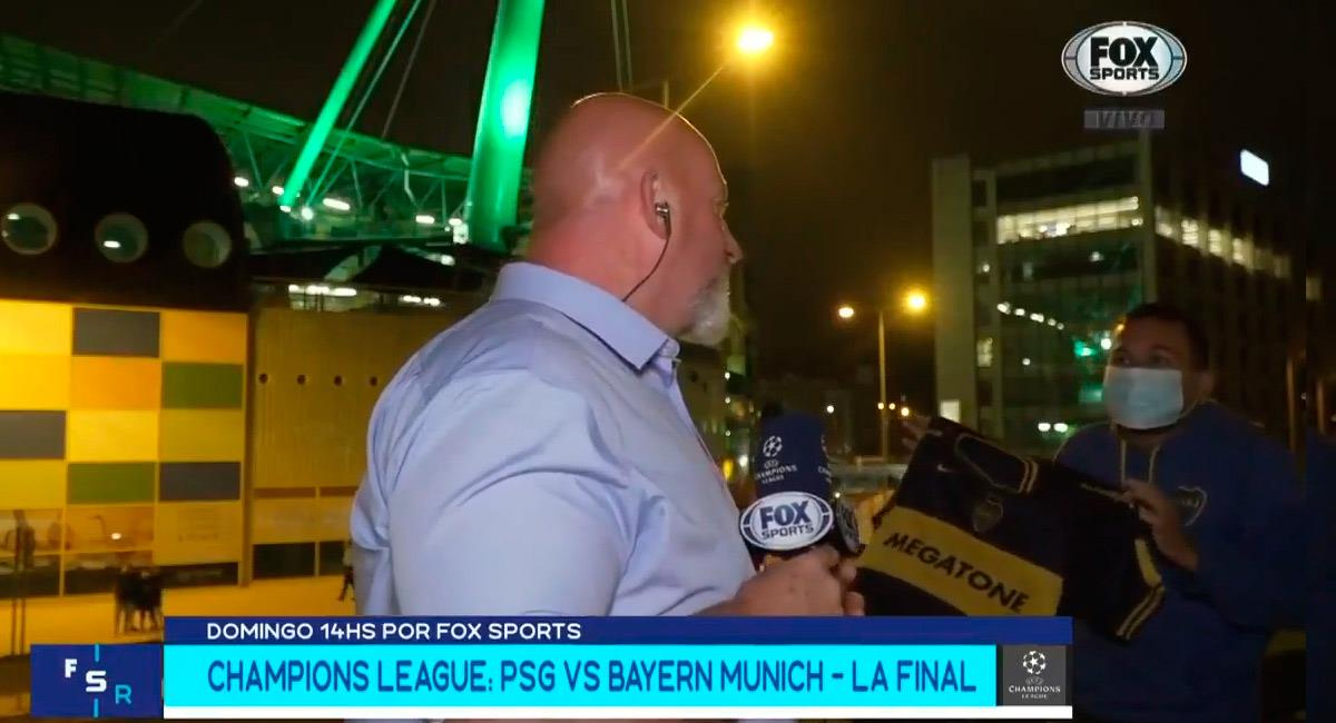 Christian Martín en Lisboa en plena transmisión en vivo y en directo. Foto: Twitter Reproducción video @FOXSportsArg