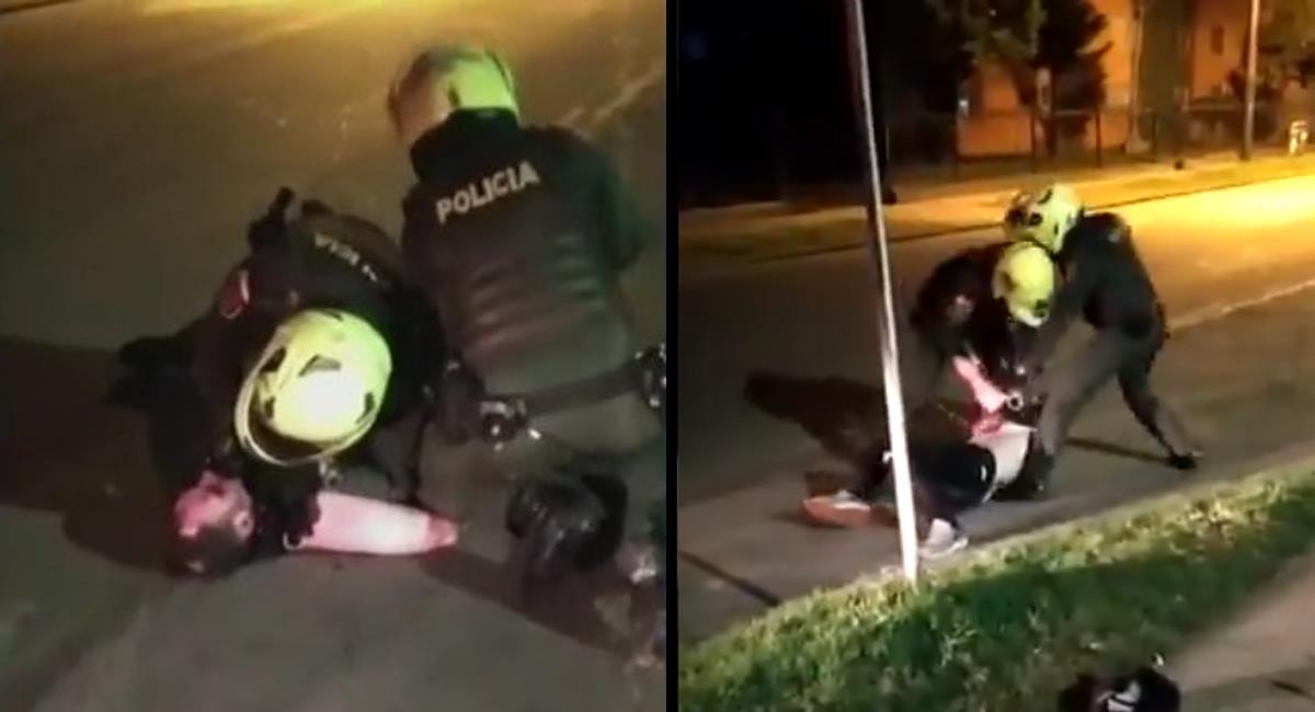 Captura del momento en el que los policías inmovilizan al hombre. Foto: Twitter / @ruidiaz_ddhh