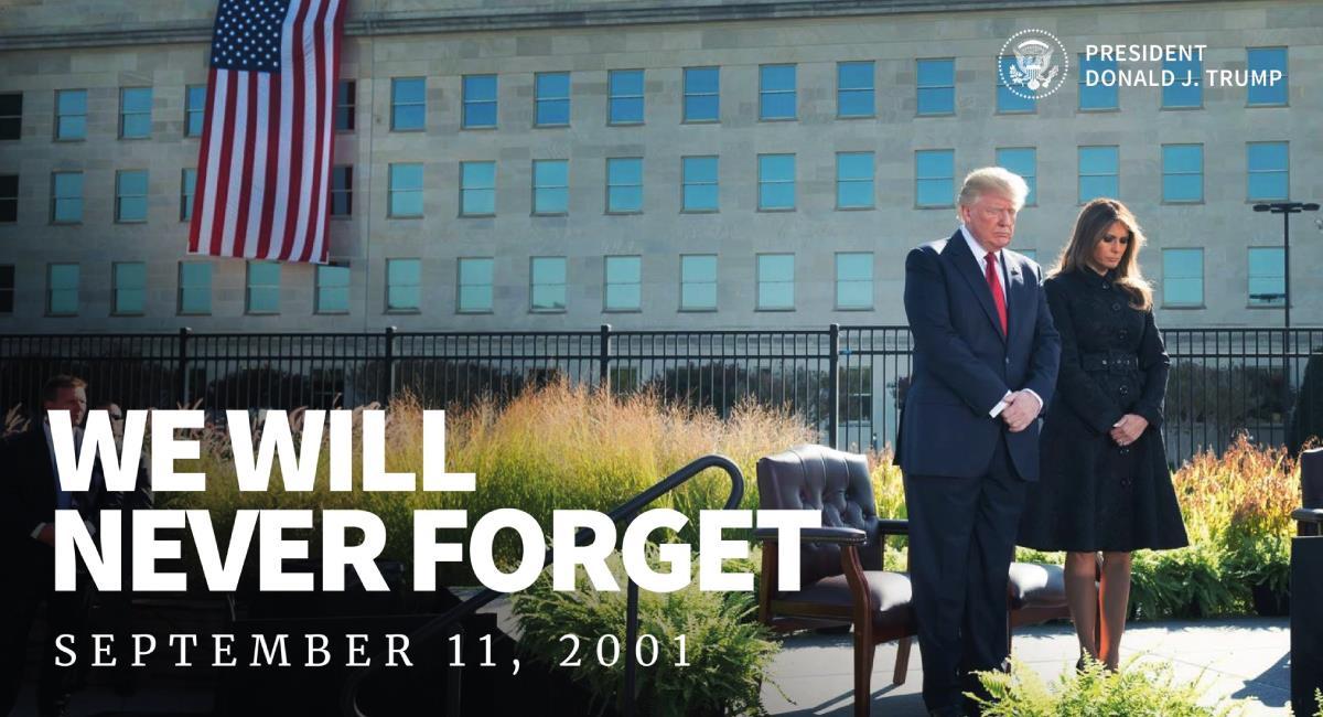 Se conmemora un nuevo aniversario luctuoso del 9/11. Foto: Twitter @realDonaldTrump