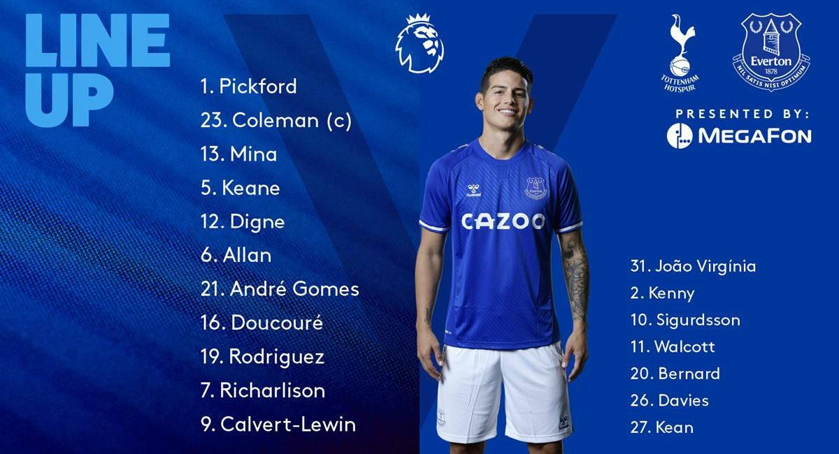 James y Mina titulares con Everton. Foto: Twitter Prensa redes Everton