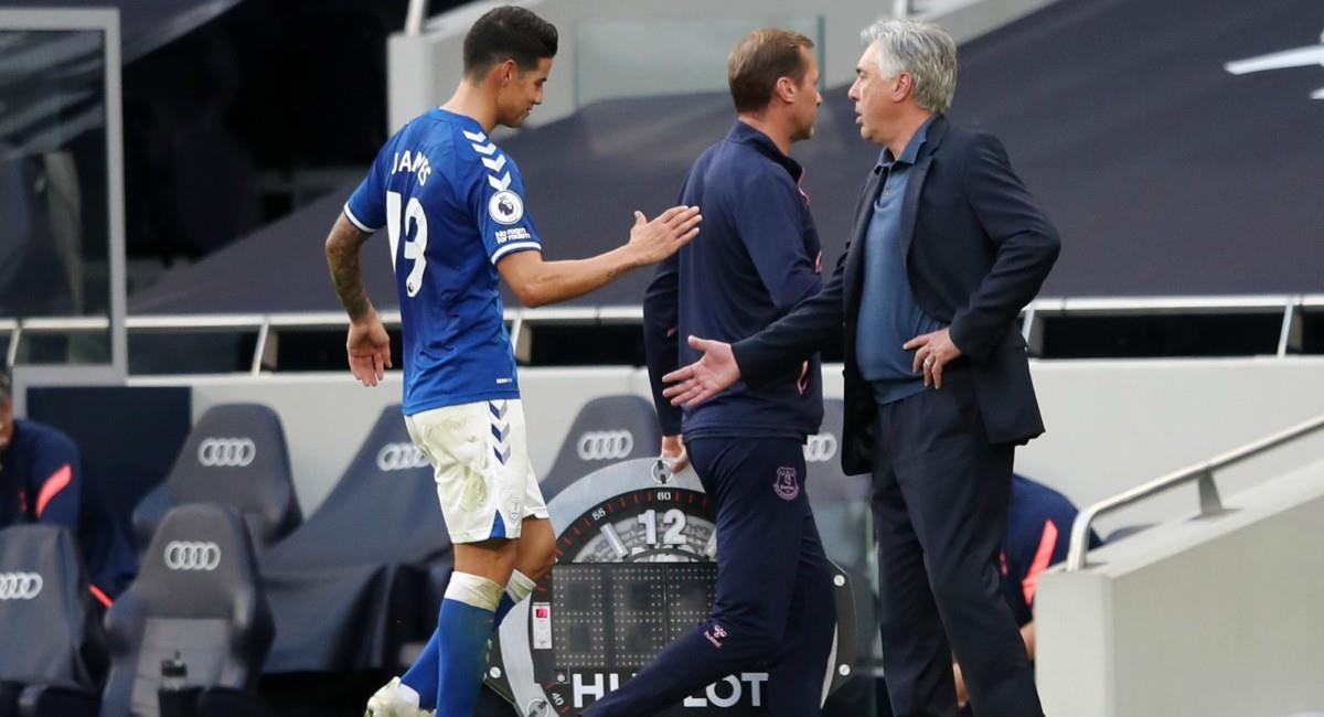 Ancelotti y sus elogios a James. Foto: Twitter Prensa redes Everton