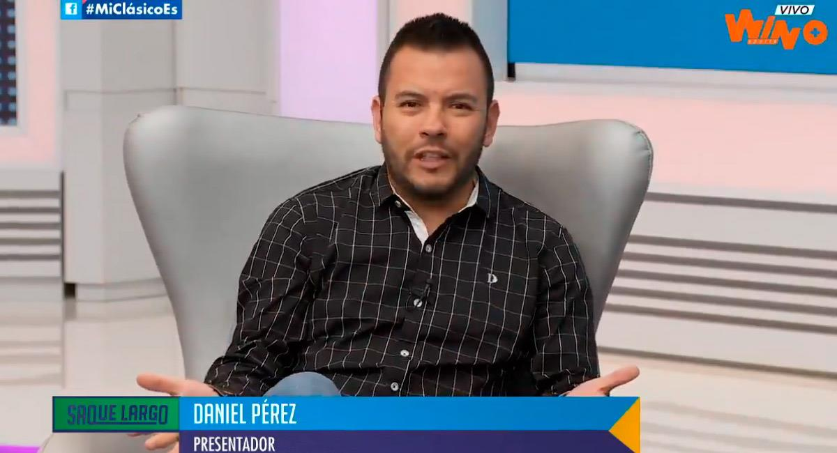 Daniel Pérez, periodista de Win Sports. Foto: Twitter Reproducción video @WinSportsTV