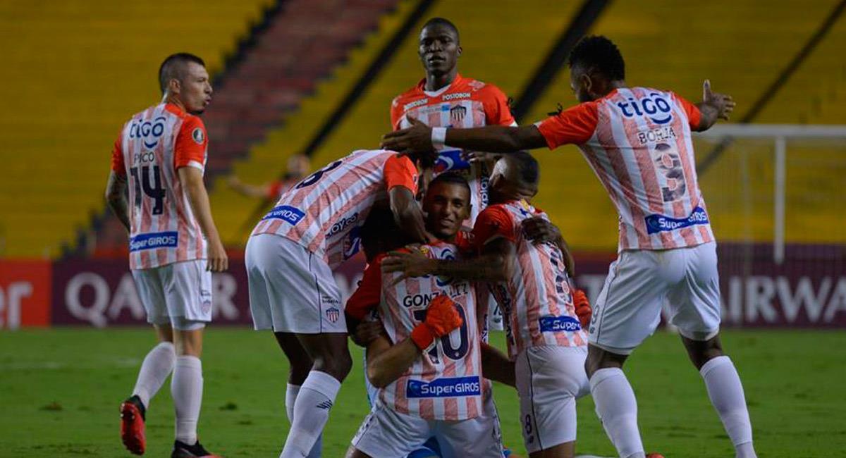 Junior celebra la victoria ante Barcelona en Libertadores. Foto: EFE