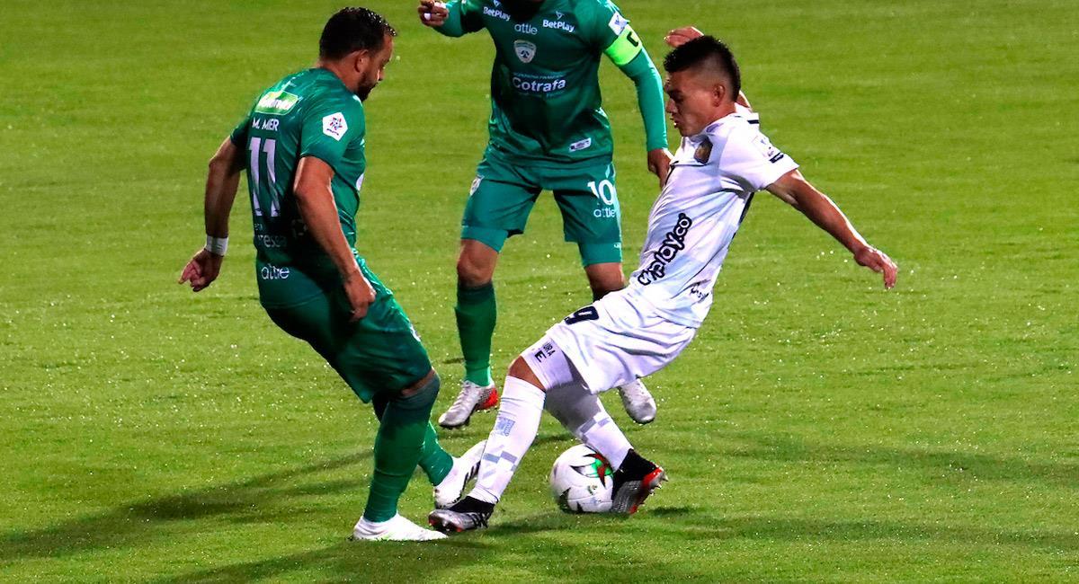 Matías Mier jugando con Equidad ante Chicó. Foto: Twitter @Dimayor