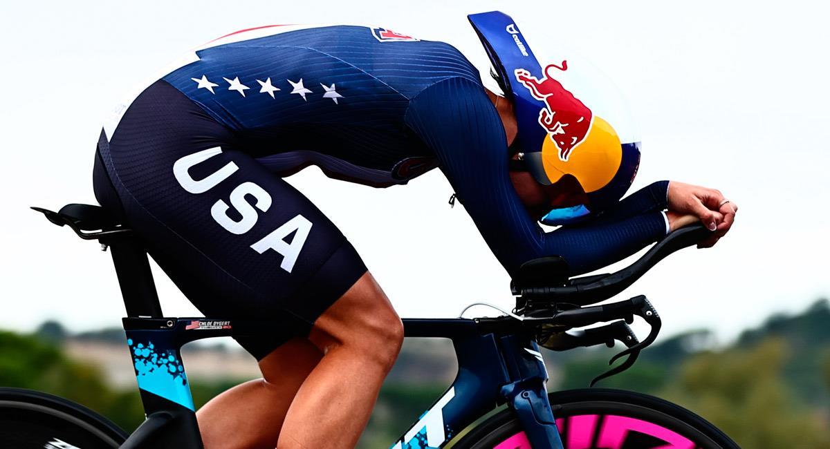 Chloe Dygert, pedalista de Estados Unidos en el Mundial de Ciclismo. Foto: Twitter @UCI_cycling