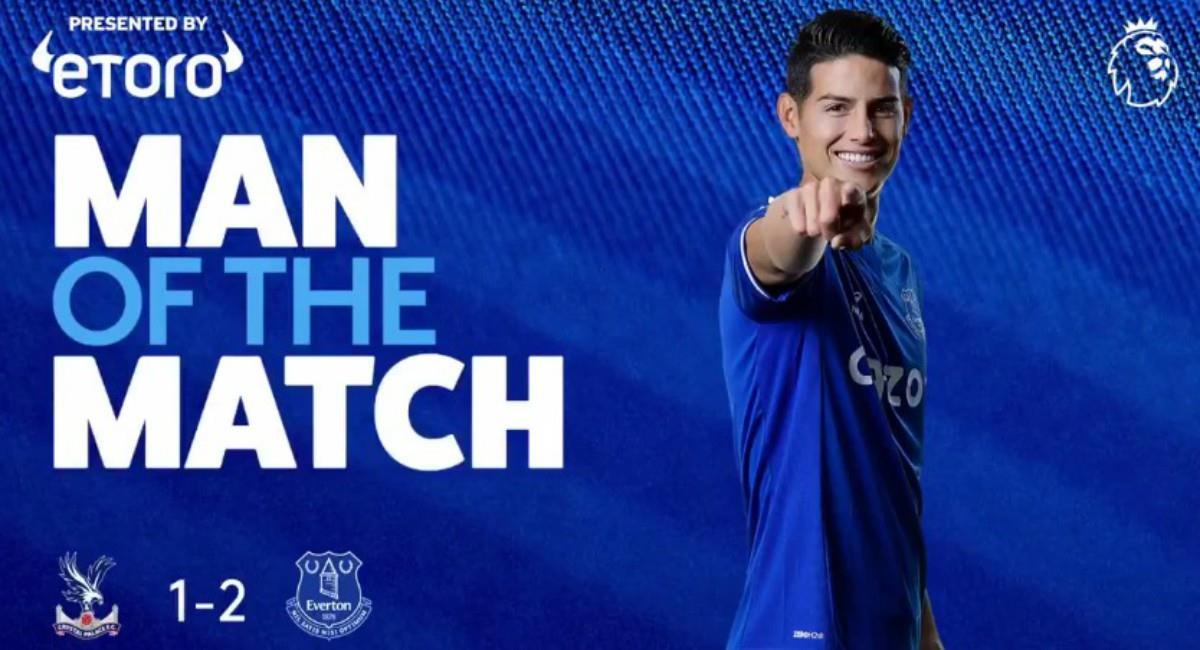James elegido figura del partido. Foto: Twitter Prensa redes Everton