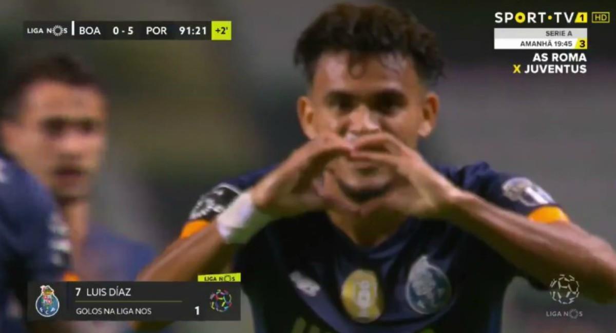 Gol de Luis Díaz en victoria de Porto. Foto: Twitter Captura pantalla Sport TV
