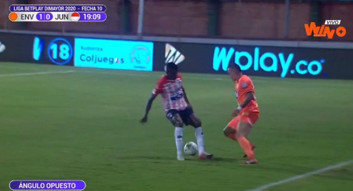 Envigado venció a Junior. Foto: Twitter Captura pantalla Win Sports