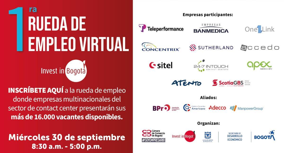 La rueda de empleo se realizará el 30 de septiembre. Foto: Twitter @investinbogota