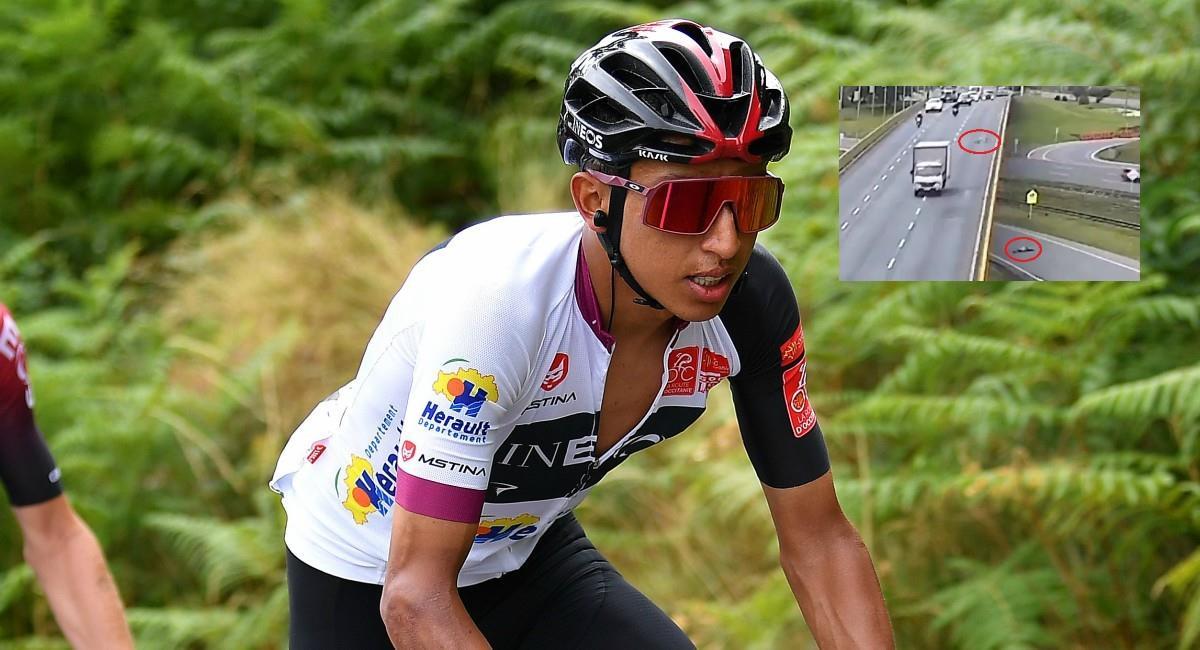 Egan Bernal molesto por muerte de ciclista atropellado. Foto: Twitter Prensa redes Team Ineos.