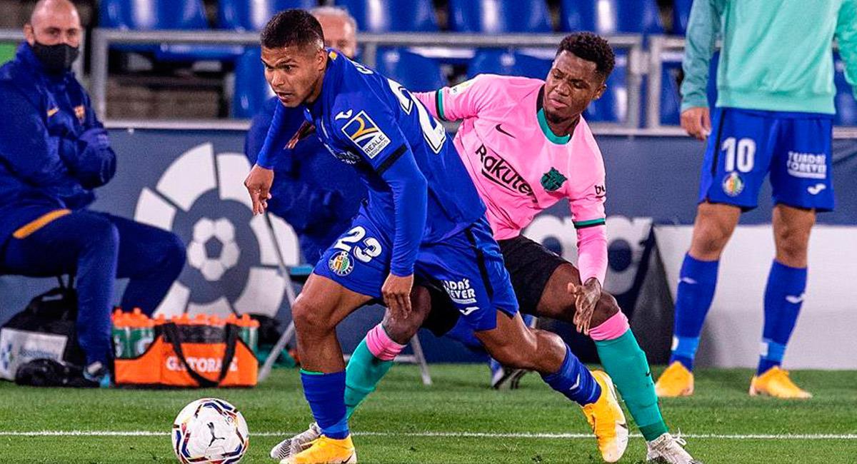 El Cucho Hernández fue titular de Getafe ante Barcelona. Foto: EFE
