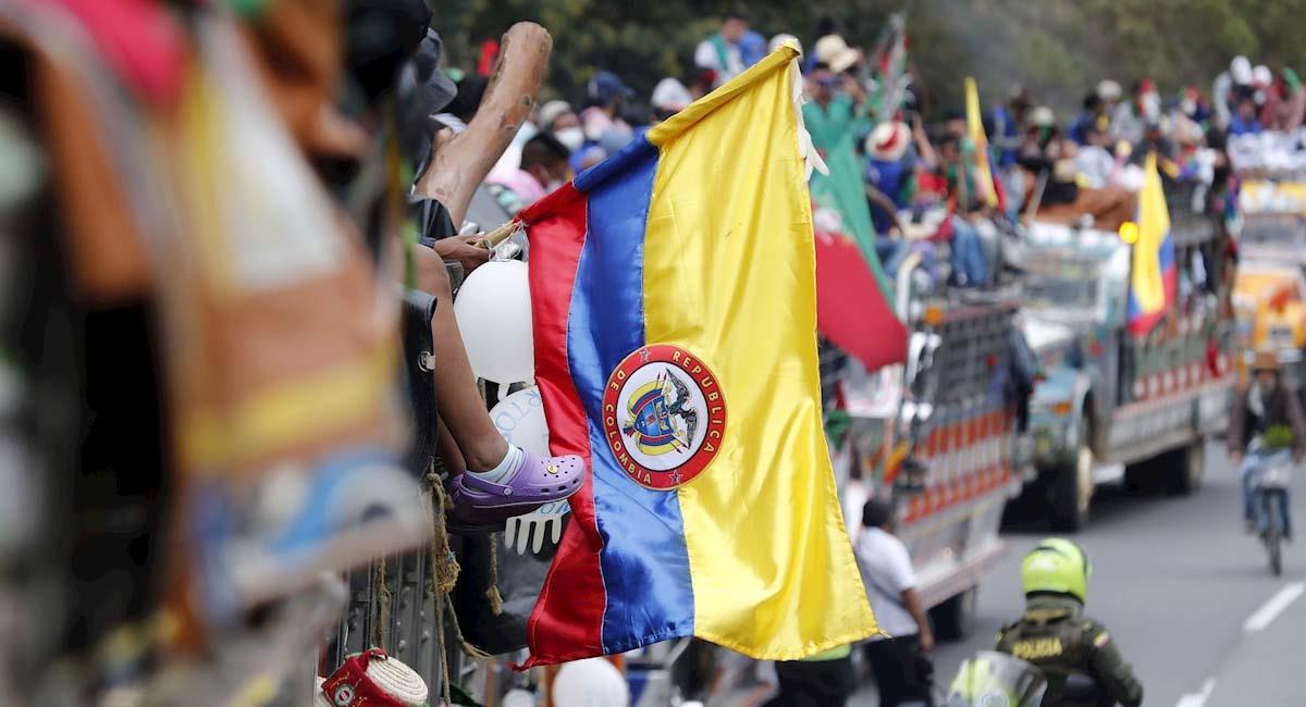 La Minga tuvo un gran recibimiento en su llegada a Bogotá. Foto: EFE