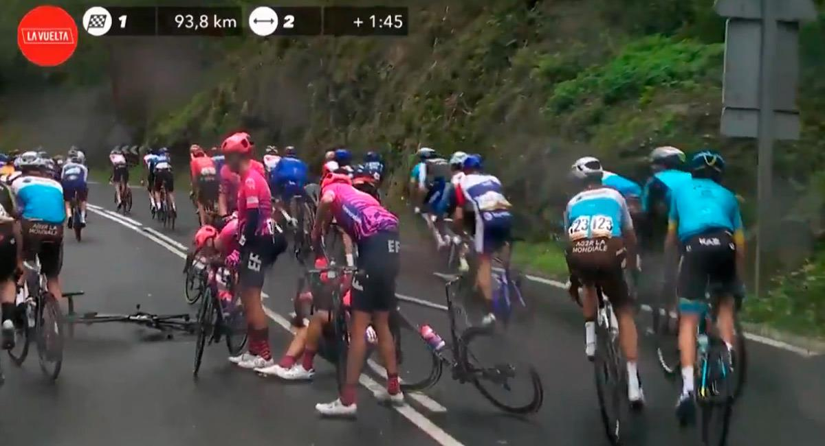 Daniel Martínez se cae en la primera etapa de la Vuelta a España. Foto: Twitter @lavuelta