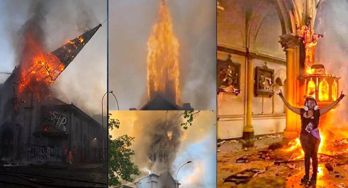 Dos iglesias fueron quemadas en Santiago de Chile en medio de manifestaciones en el fin de semana. Foto: Facebook Alfonso Arroyo/Benjamín Romero