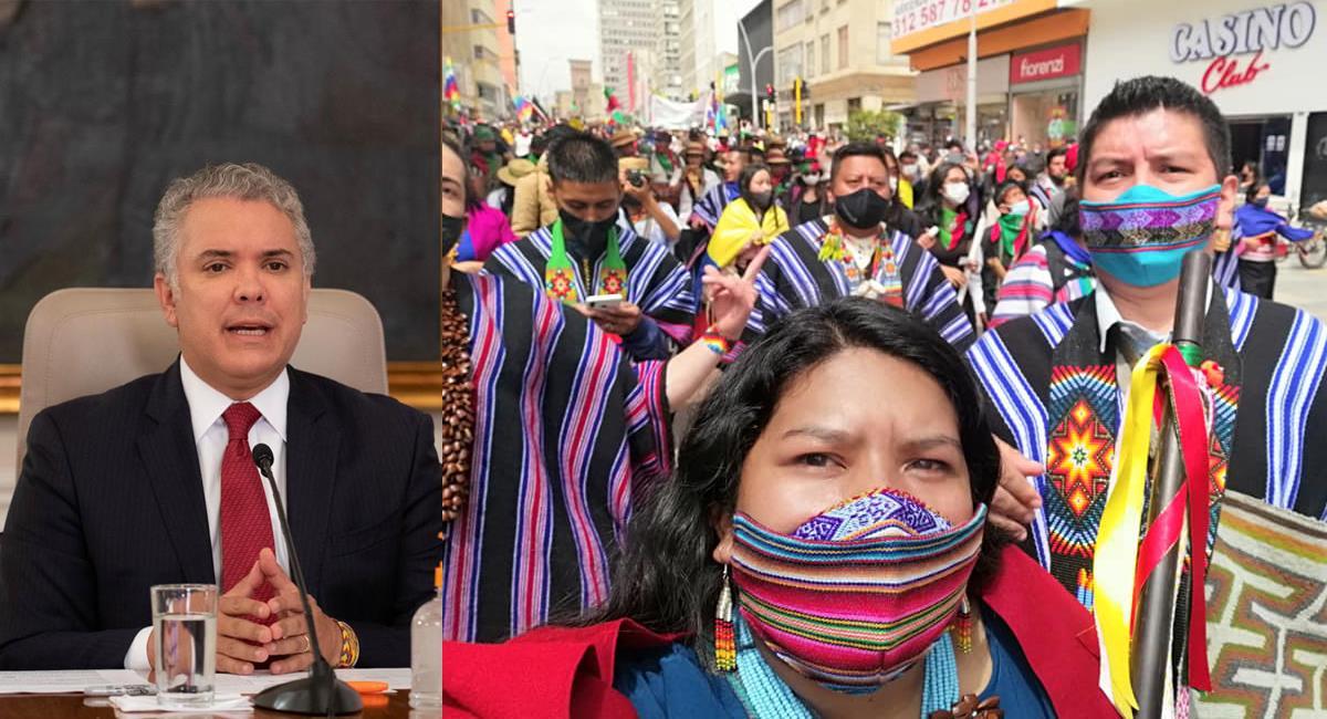 La minga vino en forma pacífica y de la misma forma se fue sin que el presidente Duque los escuchara. Foto: Facebook Iván Duque/Cabildo Inga