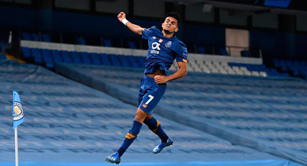Luis Díaz celebra su gol ante Manchester City en Champions League. Foto: EFE