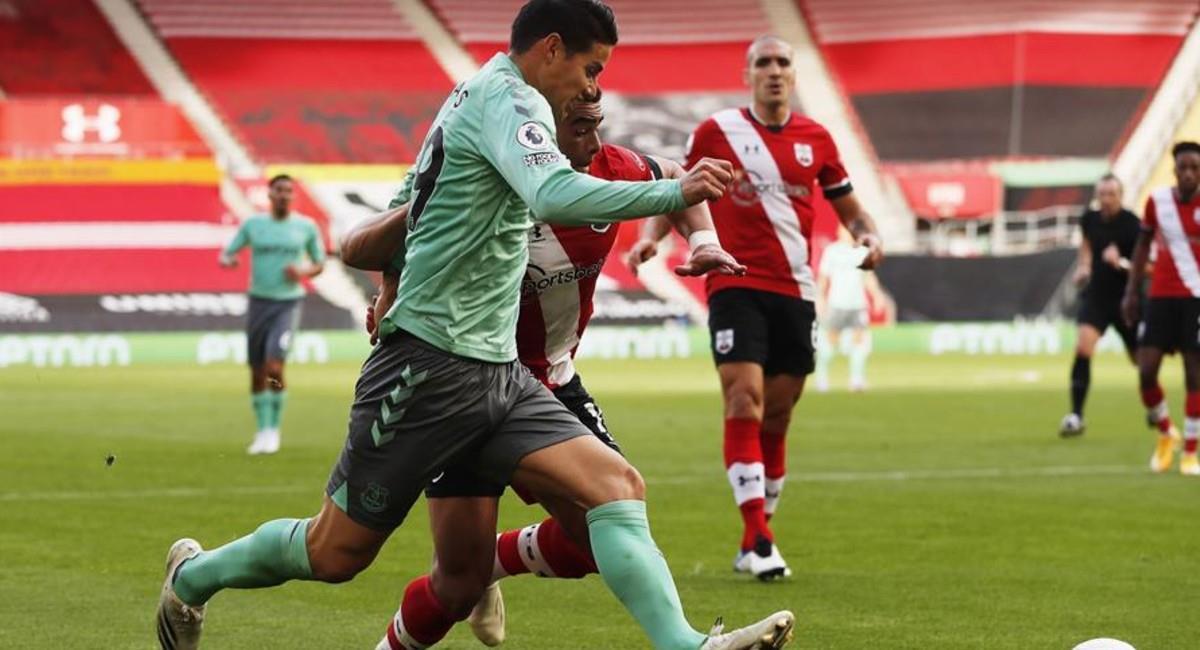 James Rodríguez en el partido ante Southhampton. Foto: EFE