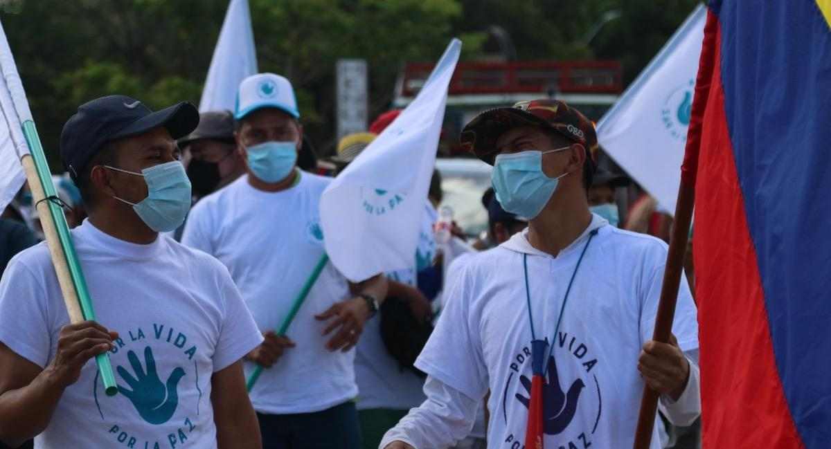 Exguerrilleros de las FARC marchan hacia Bogotá buscando paz. Foto: Twitter @PartidoFARC