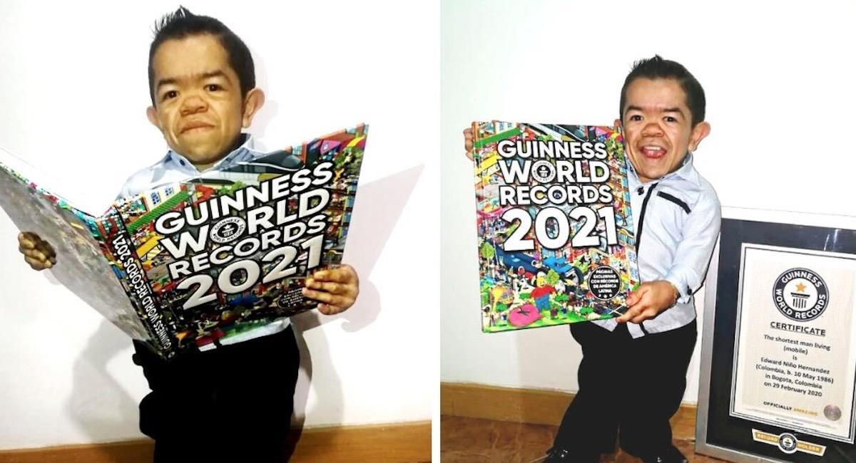 Edward Niño, el colombiano que se encuentra en el libro de los Récord Guinness por su estatura. Foto: Página Oficial Récord Guinness