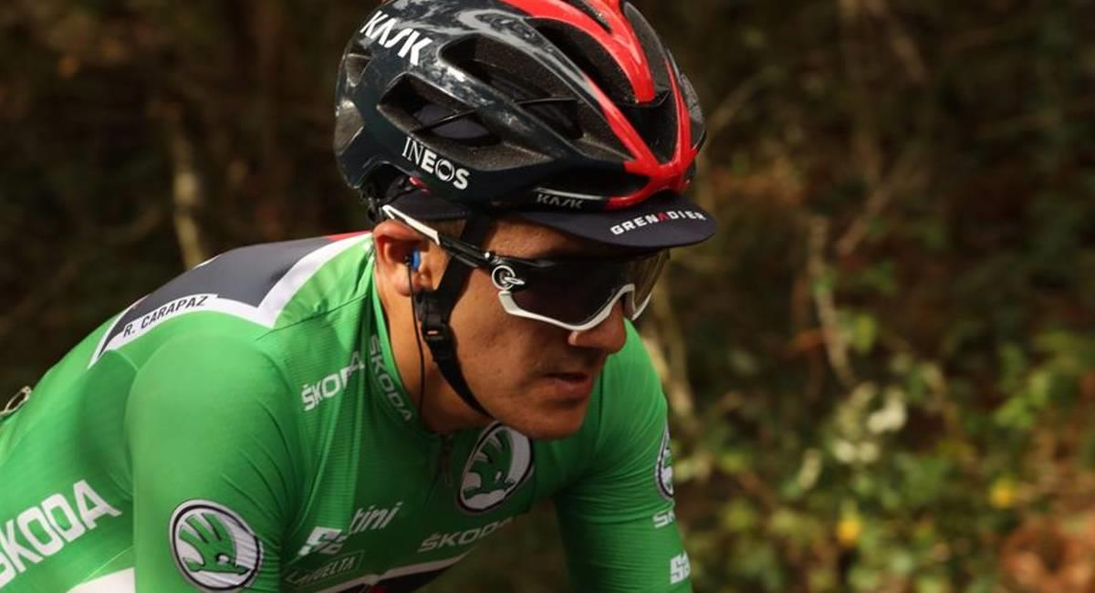Richard Carapaz, pedalista ecuatoriano del Team INEOS. Foto: EFE