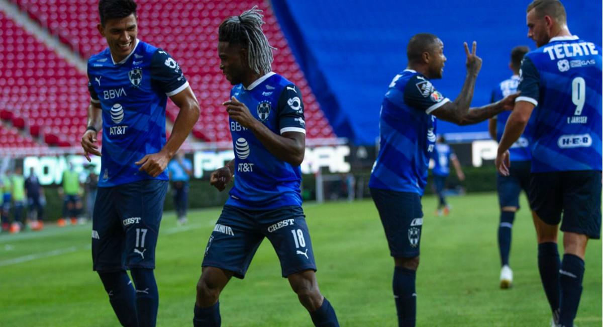 Gol de Avilés Hurtado con Monterrey. Foto: Twitter Prensa redes Monterrey.