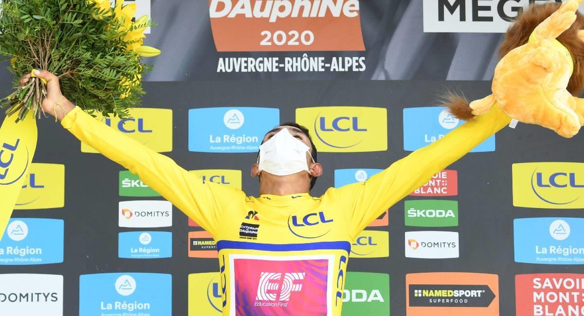 Daniel Felipe Martínez, el mejor colombiano en el Ranking UCI. Foto: Twitter @MaillotjauneLCL