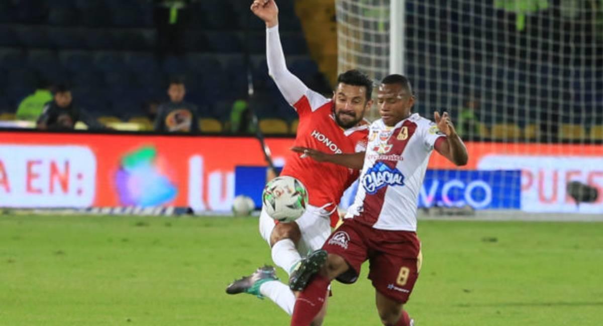 Andrés Pérez anotó el único gol del compromiso. Foto: @SantaFe